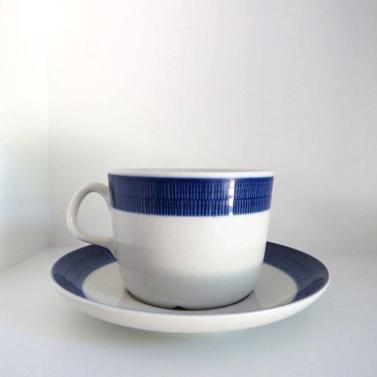 A Rorstrand Koka blue and white porcelain tea cup and saucer Scandinavian modern mid century modern / See shop Arabia Gustavsberg Stig Gefle by VintageDesignTreats on Etsy https://www.etsy.com/listing/467201399/a-rorstrand-koka-blue-and-white