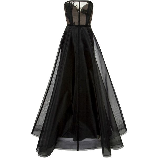 Alex Perry Harland Gown (34.992.800 IDR) ❤ liked on Polyvore featuring dresses, gowns, alex perry, vestidos, black, ball dresses, full length dresses, fitted tops, ball gowns and strapless ball gown