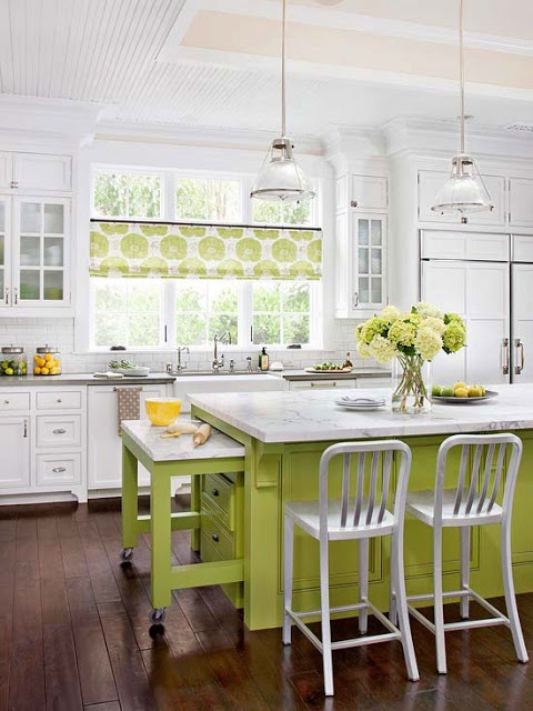 2013 White Kitchen Decorating Ideas from BHG- I love the small, contemporary brackets under the island! *** I like this because I could easily paint the island and use different accent colors when I felt like it***