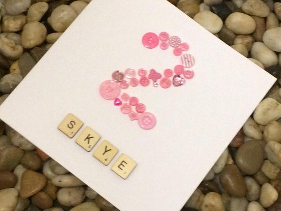 Personalised 2nd Birthday Card Button Number Card Name Birthday