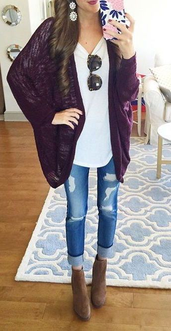#fall #outfits / burgundy cardigan