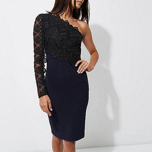 Navy one shoulder lace bodycon midi dress - bodycon dresses - dresses - women