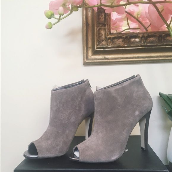 [Sole Society] Julian Hough Bootie This lovely bootie is apart of the collab with Sole Society and Julian Hough. It has beautiful taupe suede and an open toe. Sadly it doesn't fit me.  Never been worn, so in perfect condition. Sole Society Shoes Ankle Boots & Booties