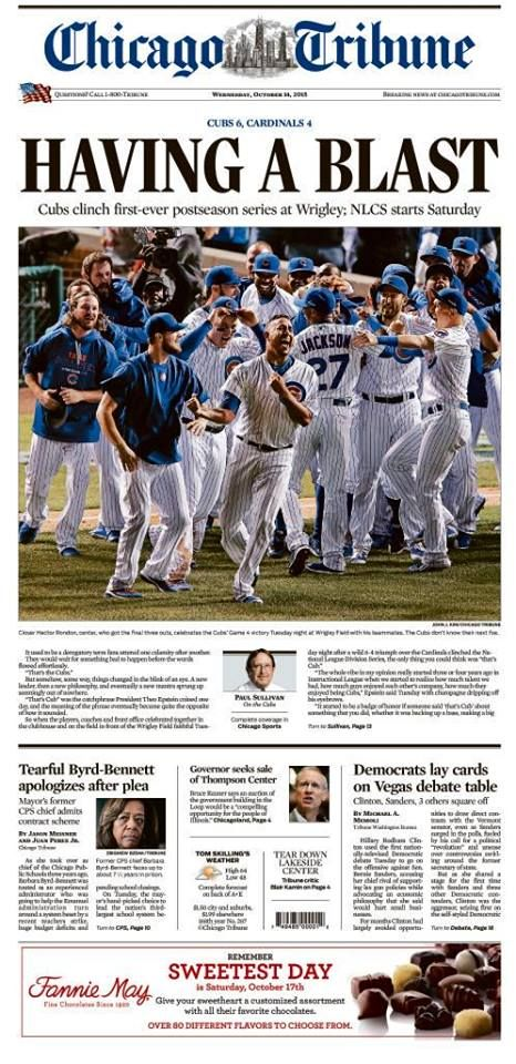 Chicago Tribune - Front Page. October 14, 2015