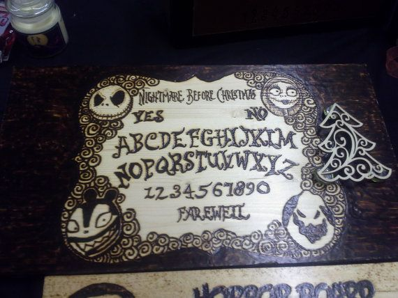 Nightmare Before Christmas wood burned ouija by TallTaleRemains