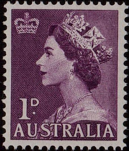 ACSC 293A) 1953. Queen Elizabeth II. 1d. Perforation 15 x 14. No watermark. Purple