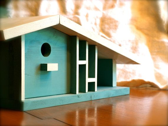Birdhouse: Great midcentury modern bird house, great look with garage $199