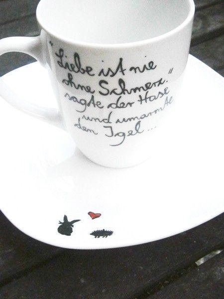 schmerzhafte Liebe Teller & Tasse mit Spruch von hochdietassen via dawanda.com