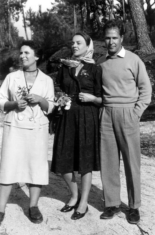 Agustina Bessa-Luís com Sophia de Mello Breyner Andresen e Eugénio de Andrade, anos 50