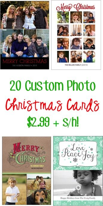 Score a sweet deal on your cards this year!!  Get 20 Custom Photo Christmas Cards: $2.99 + s/h!