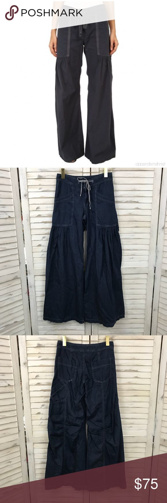 """XCVI WILLOW WIDE LEG PANTS WOMENS EXTRA SMALL XCVI WILLOW WIDE LEG PANTS WOMENS EXTRA SMALL   Description: Flared leg cut Mid rise waist Dark Blue Solid  Measurements: 29"""" Inseam, 10"""" Rise, 32"""" Waist  Condition: Good pre-owned condition, a few loose threads at the pockets, missing button, minor wear at cuffs. XCVI Pants Wide Leg"""