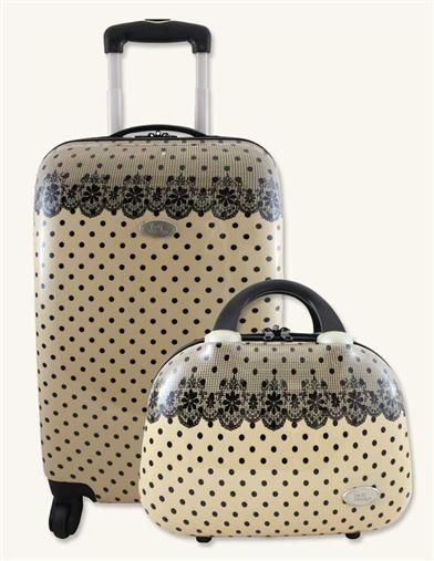 CREAM WITH BLACK LACE LUGGAGE SET from Victorian Trading Company!
