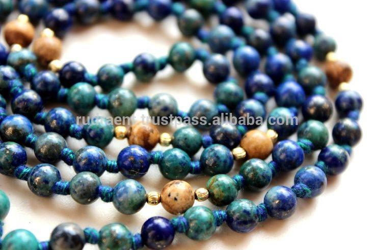 Chrysocolla, Picture Jasper Tassel 108 Beads Japa Mala, Mala Beads Necklace
