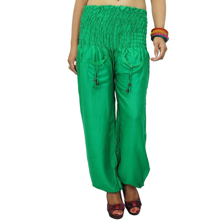 Green Rayon Harem Women Casual Jumpsuit Alibaba Genie Gypsy Pant India Sz Xs