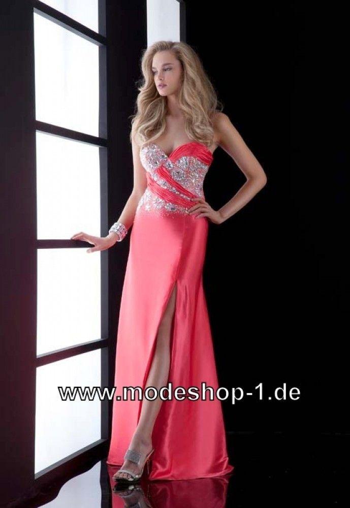 Elegantes Cut Out Abendkleid 2018 Online in Lachs