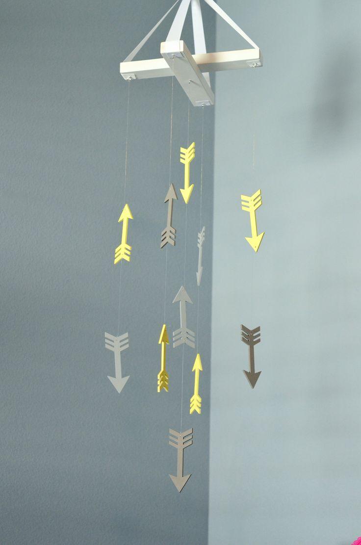 Arrow Nursery Mobile - Woodland Tribal Aztec Nursery - Yellow Gray