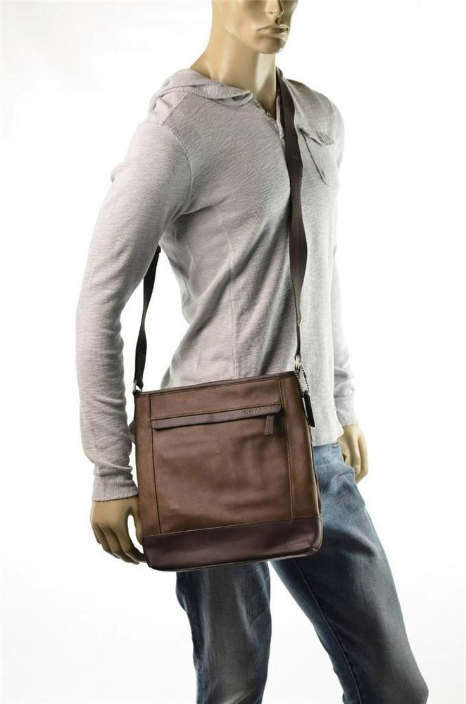 Coach Mens Leather Cross body Messenger Bag Shoulderbag Travel Satchel Bag #Coach #MessengerShoulderBag    #5Gables