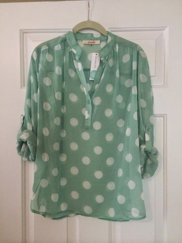 Stitch Fix June 2014  Pomelo Missy Polka Dot Tab-Sleeve Blouse
