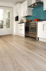 Oak engineered white pre-oiled in kitchen, flooring available at the Natural Wood Floor Company, London SW18 1EG