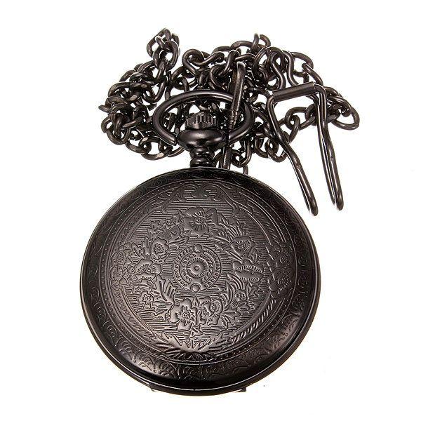 Vintage Hollow Roman Flower Alloy Black Men Women Pocket Watch - US$3.49
