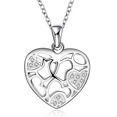Fine+Jewelry+925+Sterling+Silver+Jewelry+Hollow+Heart+Pendant+Necklace