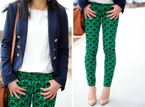 Fast Food & Fast Fashion: Kelly Green and Navy Blue (Featuring J. Crew Toothpick Cord in Ribbon Bow Print)
