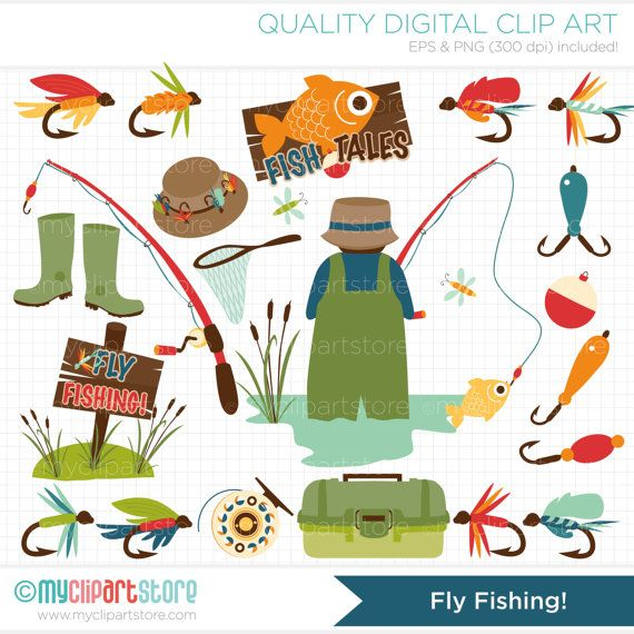 Father's Day / Fly Fishing Clip Art / Digital by MyClipArtStore, $5.00