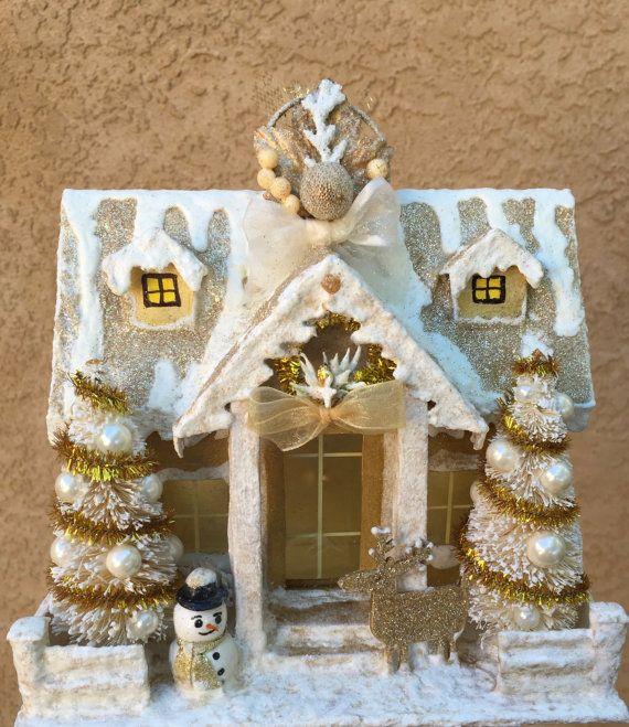 Putz Gold Glitter House Village Vintage Dwelling by applecrafty