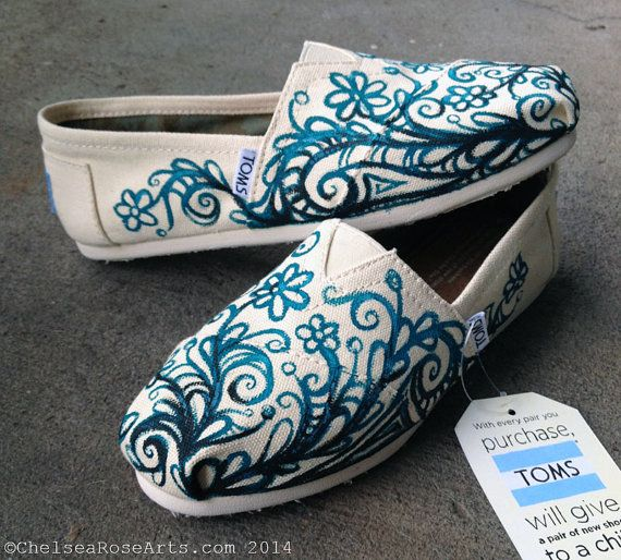 Custom TOMS Hand painted by artist Chelsea Rose