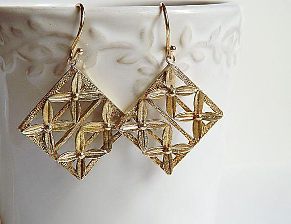 Engraved Brass earringsengraved sterling silver earrings