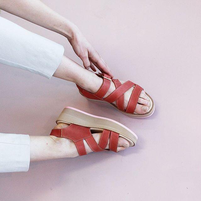Summer Cicada Platform Sandals in Terracotta leather by Kuwaii