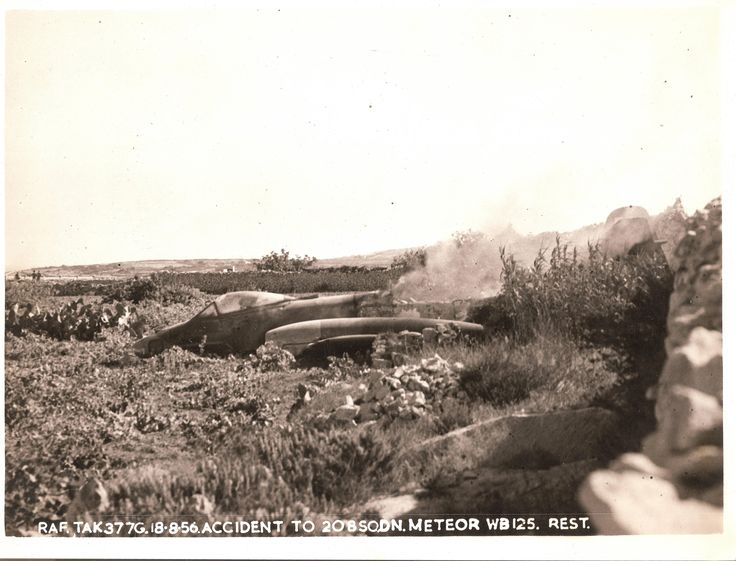 Crashed Gloster Meteor on take-off Malta 1956 with my grandpa still inside. [5000 x 3814]