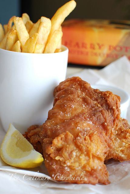 Muggles Fish & Chips. The husband loved this fish.  I didn't make the chips.  We opted for hush puppies as a side.