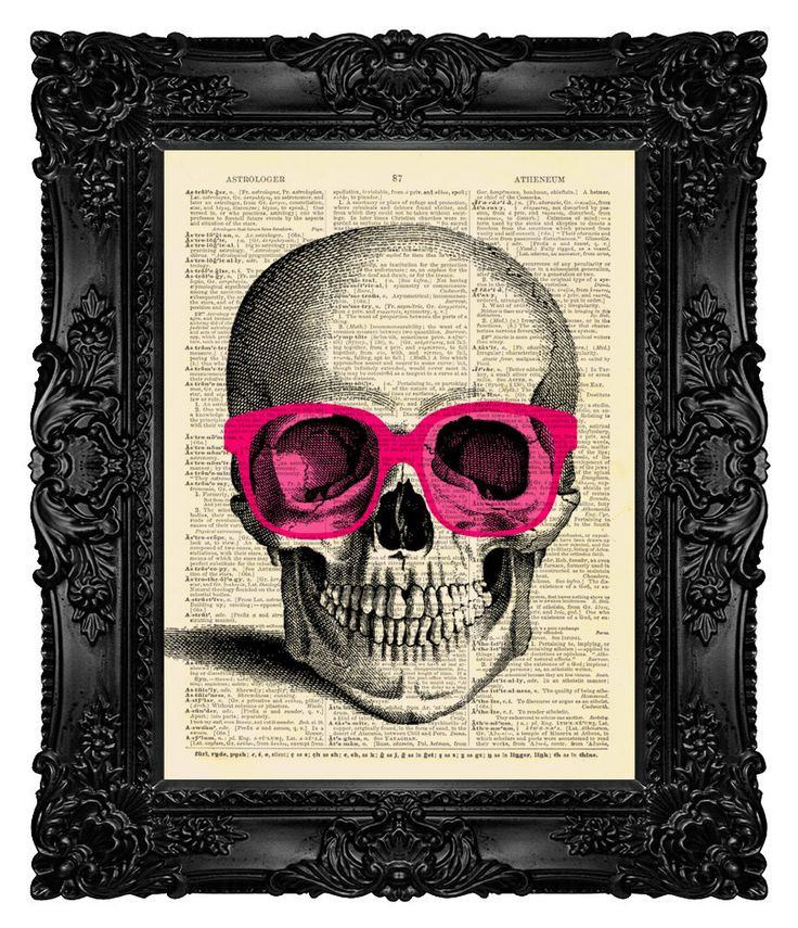 Skull+Wearing+Rose+Tinted+Glasses++by+MadameBricolagePrint+on+Etsy,+$10.00