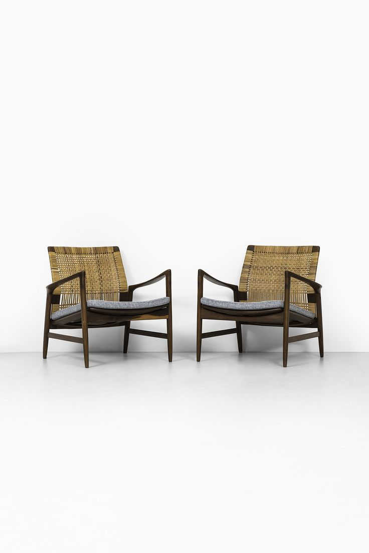 This sculptural pair of lounge chairs by ib kofod larsen is no longer - Rare Pair Of Easy Chairs Model Re Designed By Ib Kofod Larsen And Produced By Ope In Sweden