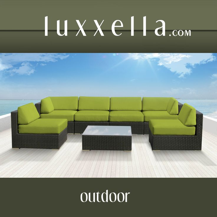 Genuine Luxxella Outdoor Patio Wicker Sofa Sectional Furniture BELLA 7pc Gorgeous Couch Set PERIDOT Rattan Furniture #Rattanfurniture #PatioFurniture #WickerFurniture #OutdoorFurniture