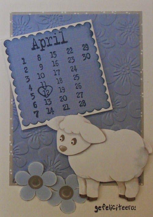 Klik door naar het blogbericht waar je 5 kaarten ziet, allemaal gemaakt met het knipvel van de schaapjes. Ook een paar babykaarten. En kaarten met een kalenderstempel erop.