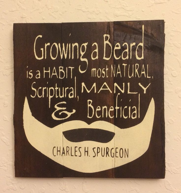 """Beards, Man Cave or Men's office decor, Gift for Pastor. Charles Spurgeon quote """"Growing a beard..."""" Reclaimed Hand Painted Wood Sign by CraftyRooster on Etsy"""