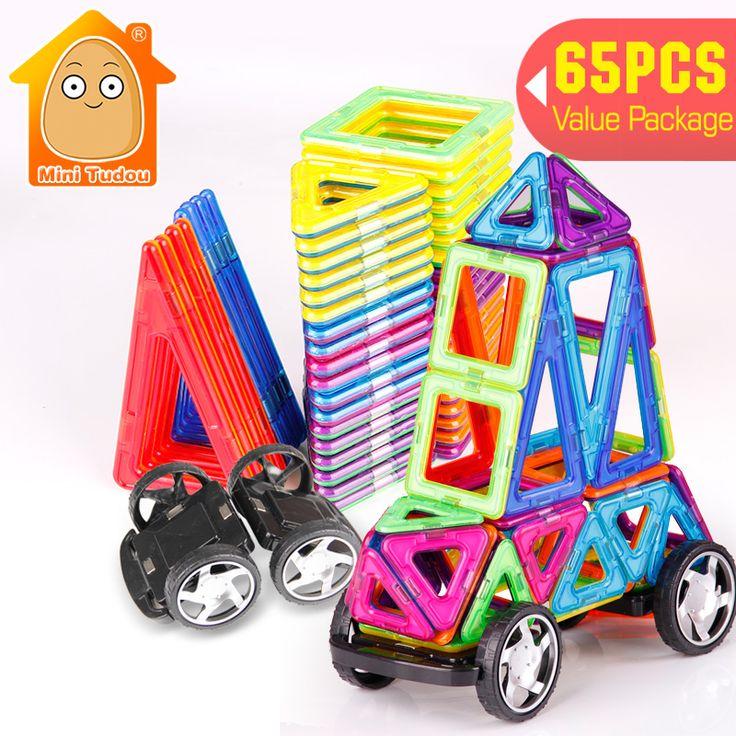 Minitudou kit modelo de ensamblaje 3d 65 unids bloques de construcción magnética constructor ladrillos educativos de regalo diy enlighten niños diy juguete