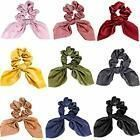 9 Pieces Hair Scrunchies Silk Scarf Bow Ponytail Holder Scrunchy Ties Bands Ear ...