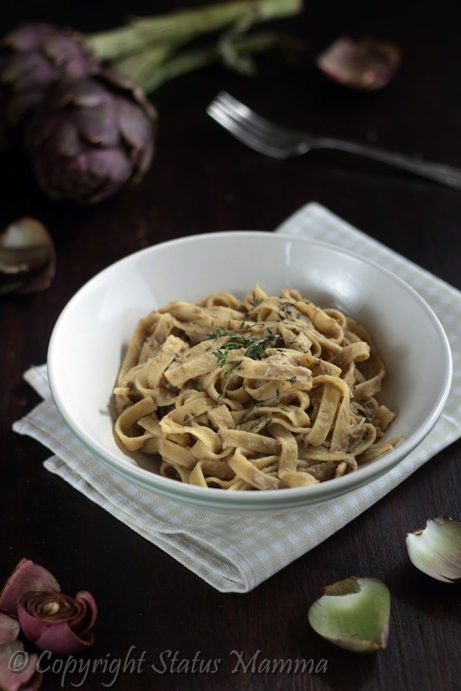 Tagliatelle carciofi tonno timo food photograpy styling recipes ricetta primo pasta con verdure