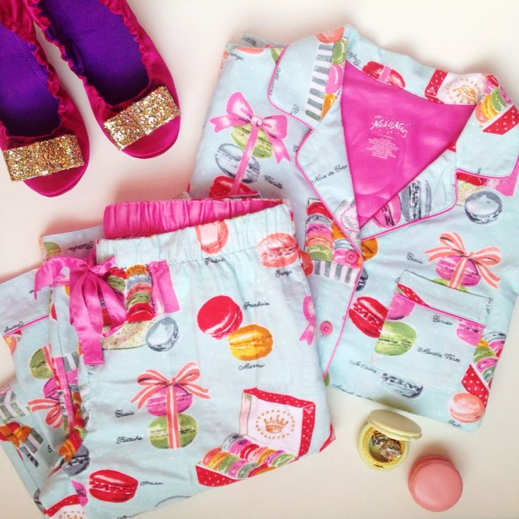 Macaron Nick and Nora pajamas and Kate Spade glitter bow slippers