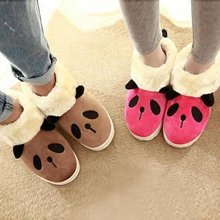 SouthBay Shoes - Panda Faux-Fur Trim Couple Slippers