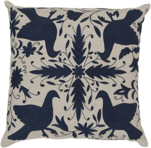 Bird Accent Pillow in Taupe & Navy | Luxurythrowpillows.com | CLICK HERE for…