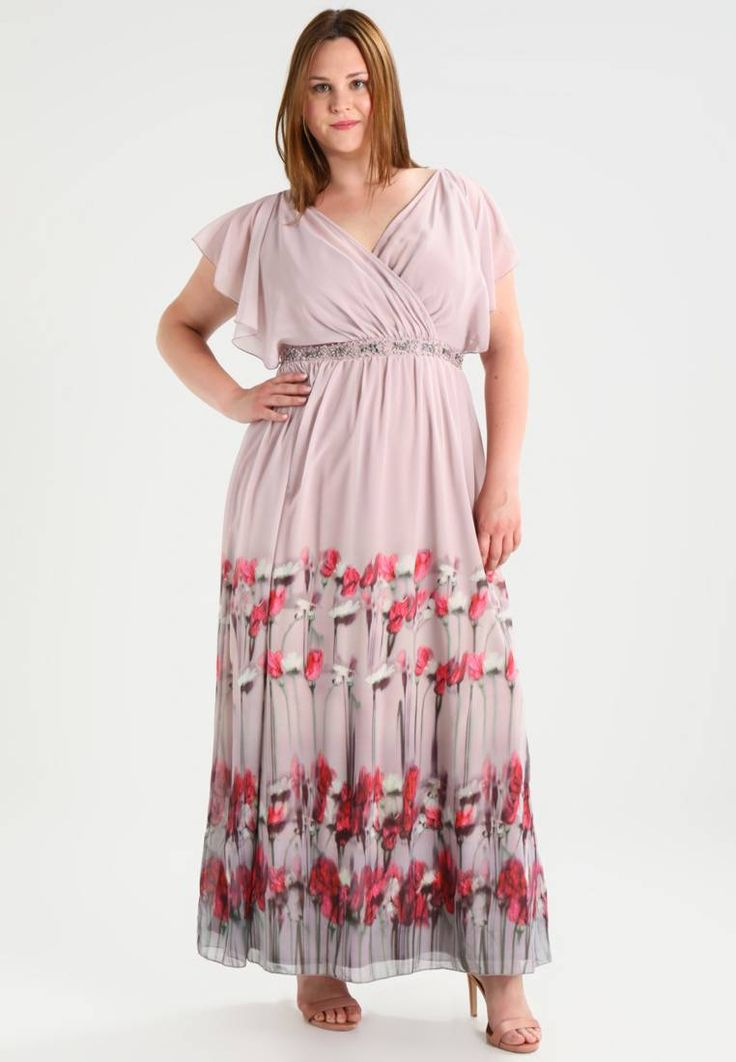 "Little Mistress Curvy. Maxi dress - multi-coloured. Outer fabric material:100% polyester. Pattern:floral. Care instructions:do not tumble dry,Hand wash only. Neckline:Cache-coeur. Sleeve length:short. Back width:16.0 "" (Size 16). Fit:tailored. Our m..."