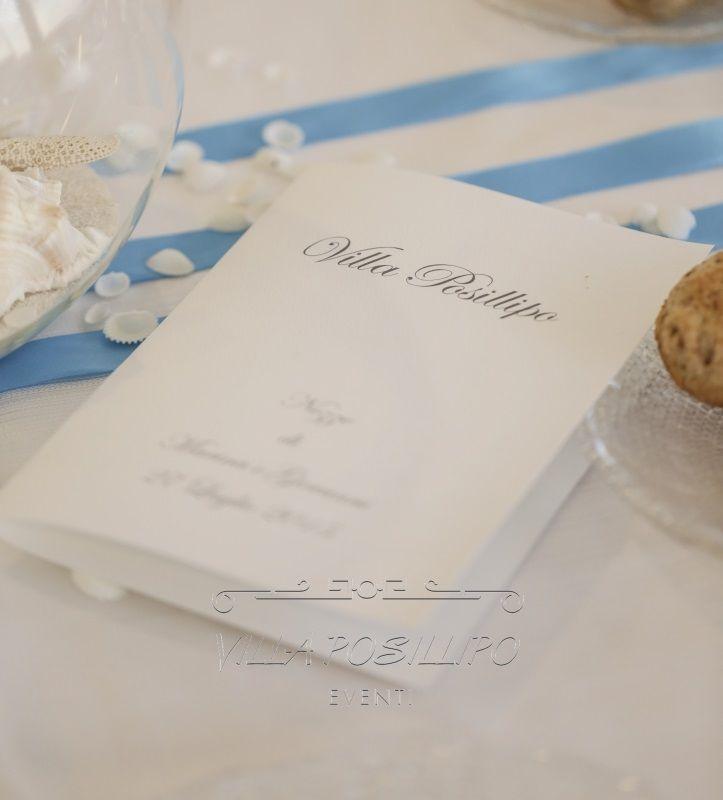Menù di nozze personalizzato. Dal cartoncino alle pietanze a tavola.