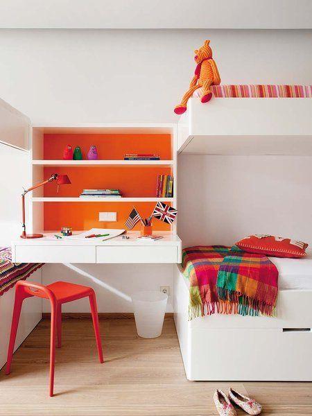 Chambre d 39 enfant design blanche et oranger kids room - Chambre enfant orange ...