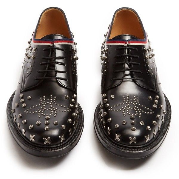 Gucci Beyond stud-embellished leather derby shoes ($1,390) ❤ liked on Polyvore featuring men's fashion, men's shoes, men's oxfords, mens black leather shoes, mens black shoes, mens punk shoes, men's blucher shoes and mens derby shoes