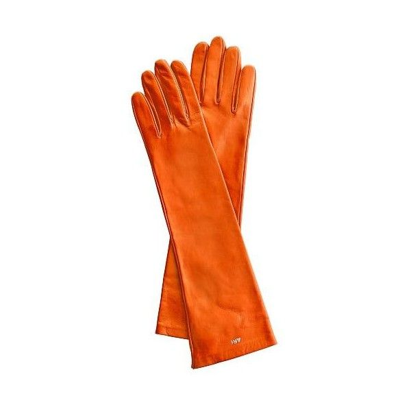 Mark & Graham Women's Italian Leather Opera Glove, Size 8, Large,... ($125) ❤ liked on Polyvore featuring accessories, gloves, orange, orange leather gloves, opera gloves, cashmere-lined leather gloves, elbow length gloves and leather gloves