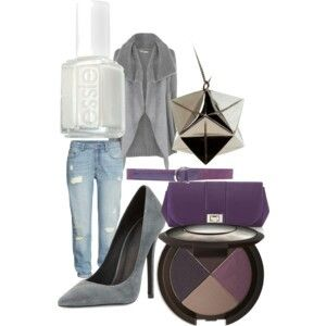 Fall sets  Boyfriend jeans purple and gray necklaces white nail polish